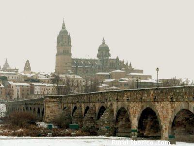Catedral de Salamanca a través del Puente Romano