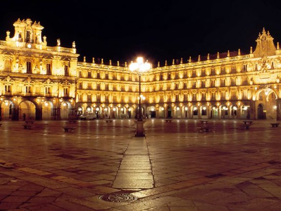 Plaza Mayor de Salamanca iluminada