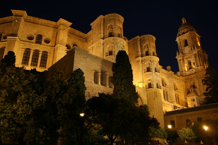 La noche juega con la Catedral de Málaga