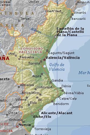 Mapa de la Comunidad Valenciana