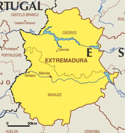 Mapa de Extremadura e información