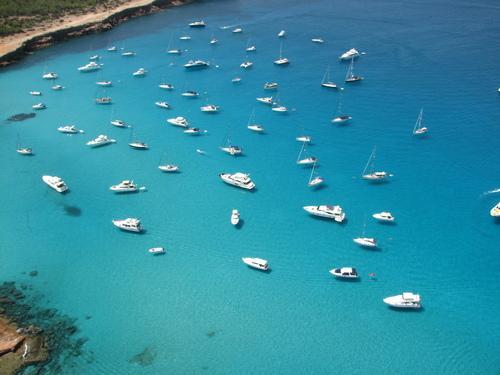 Vista aérea de una cala en Formentera