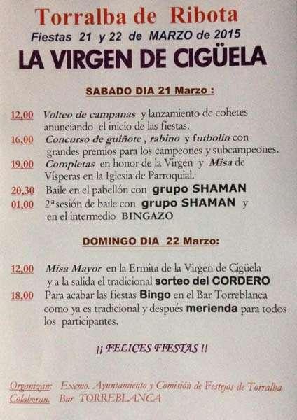 Calendario Fiesta 2015 Virgen de Cigüela